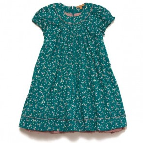 Teal Floral Short Sleeve Dress