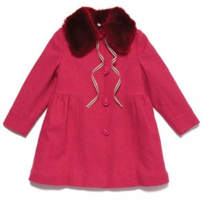 Pink Berry Fur Collar Coat