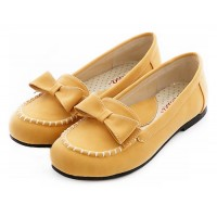Sweet Sense Bow Leather Flat Pumps